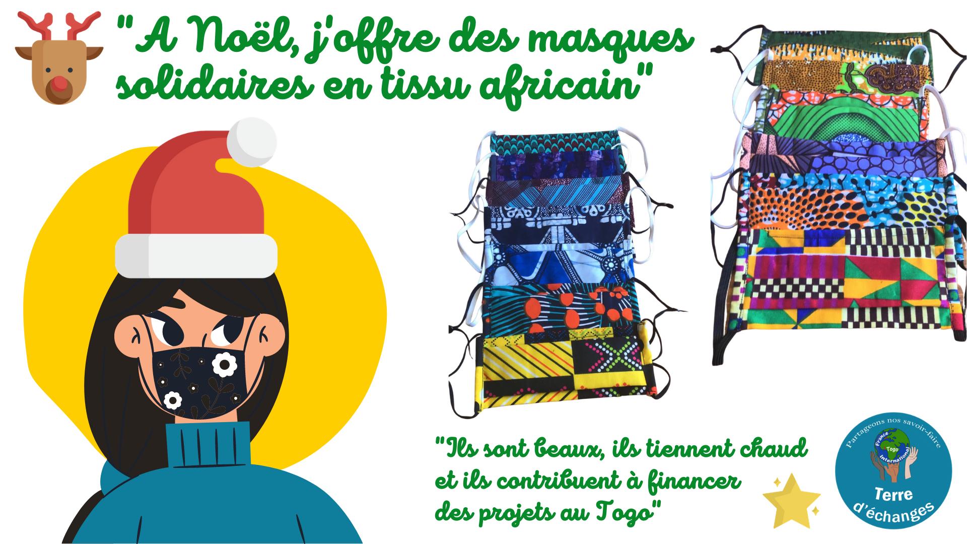 Masques solidaires de Noël en tissu africain